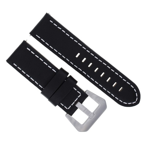 24MM COW LEATHER WATCH BAND STRAP FOR LUM TEC  M51, M47 BLACK WHITE STITCHING