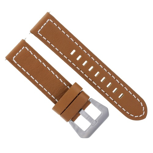 24MM COW LEATHER WATCH BAND STRAP FOR LUM TEC TAN WHITE STITCH