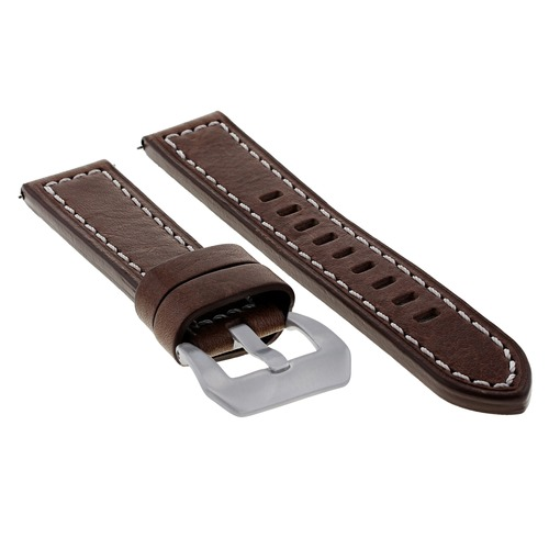 24MM LEATHER WATCH BAND STRAP FOR LUM TEC M51 M47 M44 M43 M33 DARK BROWN WS
