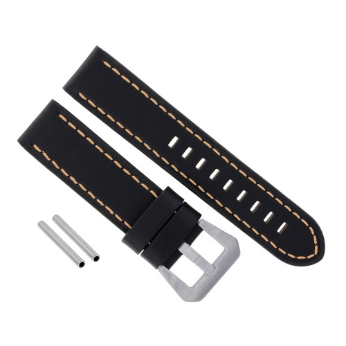 BIG 24MM COW LEATHER WATCHBAND STRAP FOR LUM TEC M33 M44 M47  M43 M51 BLACK OS