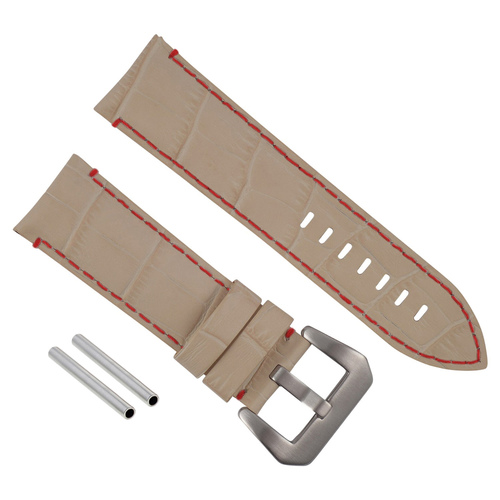 24MM GENUINE LEATHER WATCH BAND STRAP FOR LUM TEC WATCH BEIGE RED STITCH TOP QTY