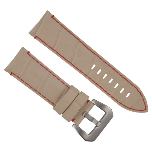 24MM GENUINE LEATHER WATCH BAND STRAP FOR LUM TEC WATCH BEIGE RED STITCHING