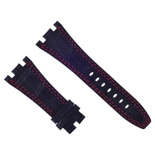28MM LEATHER WATCH BAND STRAP FOR AUDEMARS PIGUET ROYAL OAK BLACK RED STITCH #B6