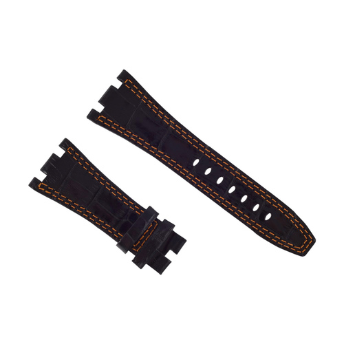 28MM LEATHER WATCH BAND STRAP FOR AUDEMARS PIGUET ROYAL OAK BLACK ORANGE STIT B6