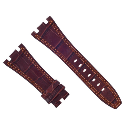 28MM LEATHER WATCH BAND STRAP FOR 42MM AUDEMARS PIGUET 15703ST 26470ST BROWN OS