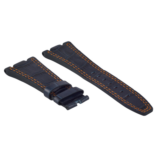 28MM LEATHER WATCH BAND STRAP FOR AP AUDEMARS PIGUET ROYAL OAK BLUE ORANGE ST 6B
