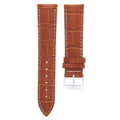 18MM LEATHER WATCH STRAP BAND FOR ROLEX  WATCH TAN COLOR WHITE STITCHING