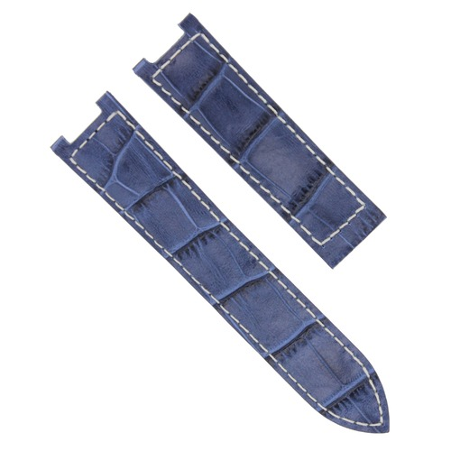 LEATHER WATCH BAND FOR FIT CARTIER SEATIMER DEPLOYMENT BUCKLE CLASP 20MM BLUE WS