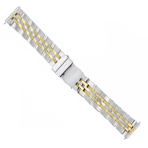 WATCH BAND BRACELET FOR FIT BREITLING CROSSWIND NAVITIMER 22MM 5 LINK GOLD/STEEL