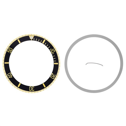 BEZEL+ INSERT FOR ROLEX SUBMARINER 18KY REAL GOLD 16800 16613 16618 16803 BLACK