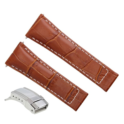 LEATHER STRAP BAND FOR TUDOR CHRONOGRAPH 79260P WATCH TAN WS REGULAR S/S CLASP