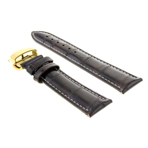 19MM LEATHER WATCH BAND STRAP DEPLOYMENT CLASP FOR 34MM ROLEX DATE D/BROWN GOLD
