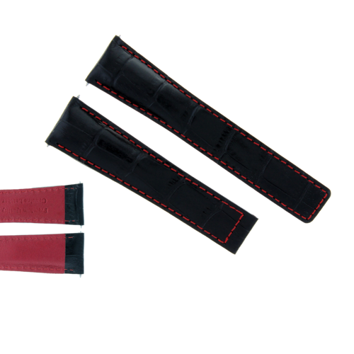20MM LEATHER WATCH BAND CLASP FOR VACHERON CONSTANTIN WATCH BLACK RED STITCH