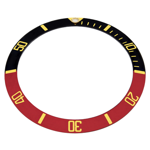 REPLACEMENT BEZEL INSERT BLACK/RED WITH GOLD FONT FOR WATCH 37.60MM X 30.70MM