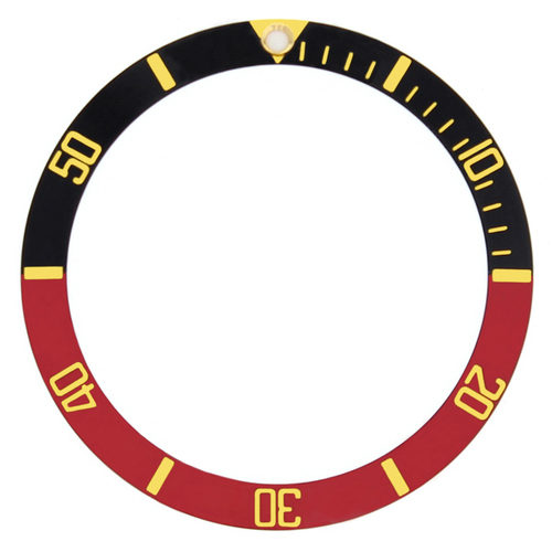 BEZEL INSERT FOR ROLEX SUBMARINER 16800 16808 16618 16808 BLACK/RED GOLD FONT