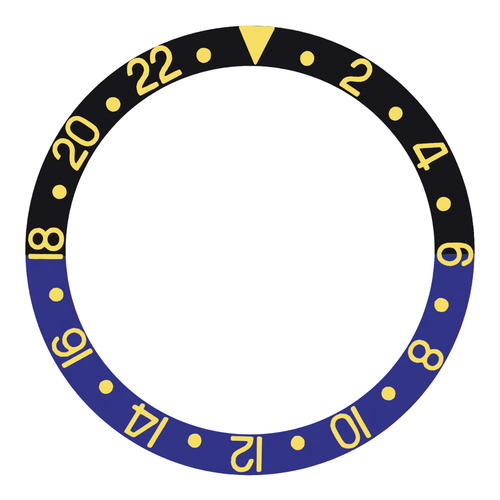 BATMAN BEZEL INSERT FOR ROLEX GMT 16700,16713,16718,16760 BLACK/BLUE GOLD FONT