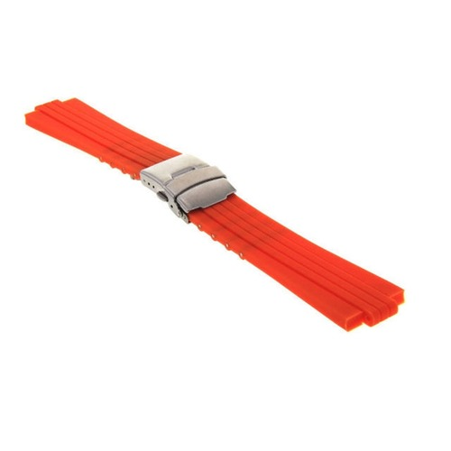 24MM 10MM RUBBER DIVER STRAP BAND BRACELET FOR ORIS TT1 F1 CHRONO WATCJH ORANGE