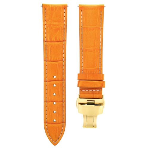 18MM LEATHER WATCH BAND STRAP FOR ROLEX WATCH DEPLOYMENT CLASP ORANGE GOLD