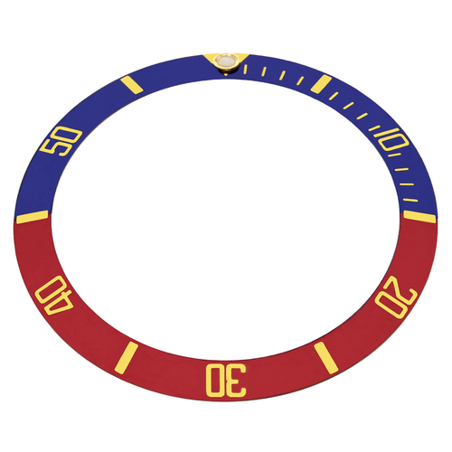 REPLACEMENT BEZEL INSERT BLUE/RED PESPSI WITH GOLD FONT FOR WATCH 36.50MM X 30.40MM