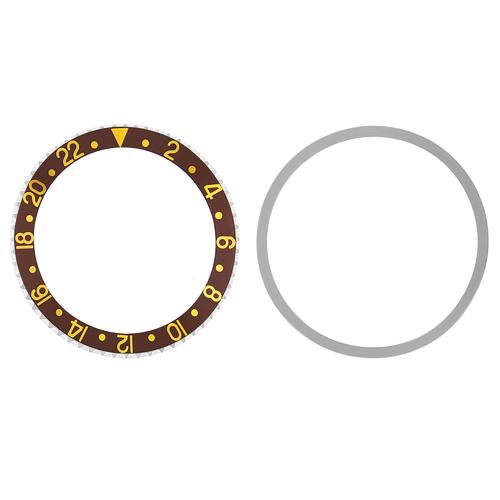 BEZEL+ INSERT + TENSION FOR ROLEX GMT 1670,1675,16750,16753 BROWN GOLD FONTS