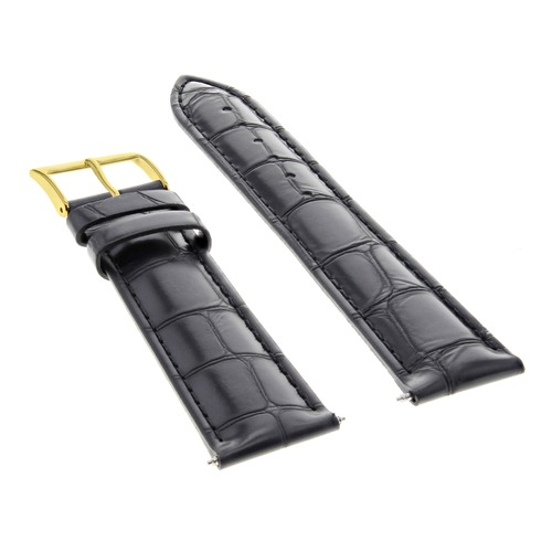 19MM LEATHER WATCH BAND STRAP FOR 34MM ROLEX DATE AIRKING 1500 5500 BLACK GOLD