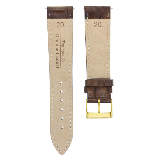 20MM LEATHER STRAP BAND FOR 36MM ROLEX DATEJUST PRESIDENT DARK BROWN GOLD BUCKLE