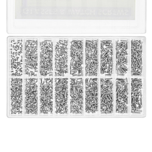 900 ASSORTMENT MICRO WATCH SCREW FOR WATCH JEWELRY REPAIR AND EYEGLASS S/STEEL