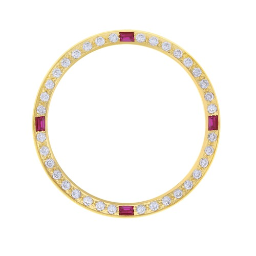 GOLD GP CREATED DIAMOND RUBY BEZEL FOR 34MM ROLEX DATE AIRKING 5500 1500 14000
