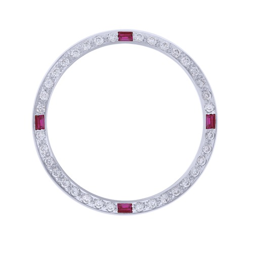 CREATED DIAMOND RUBY BEZEL FOR 34MM ROLEX MENS DATE 1500 1502 1503 15000 WHITE