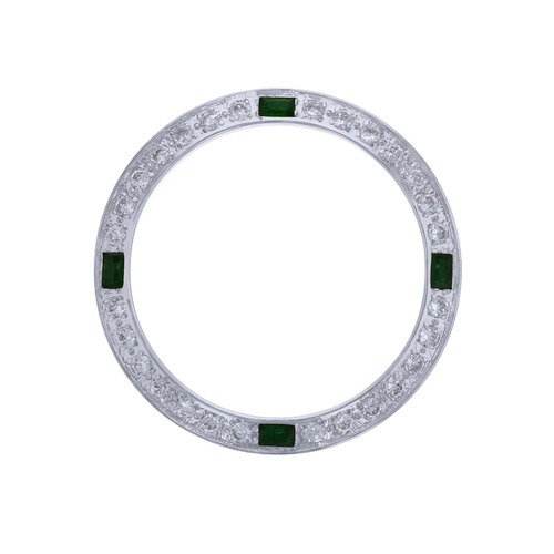 CREATED DIAMOND EMERALD BEZEL FOR 26MM ROLEX DATE , DATEJUST WATCH LADY WHITE