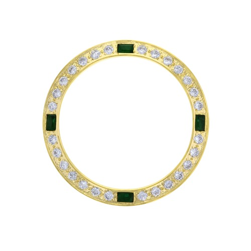 CREATED DIAMOND EMERALD BEZEL FOR 26MM ROLEX DATEJUST 6519 6917 6917 LADY GOLD