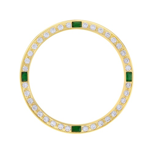 CREATED DIAMOND EMERALD BEZEL FOR MEN 36MM ROLEX 16613 16618 16234 16238 GOLD