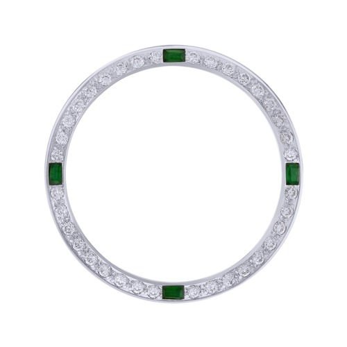 CREATED DIAMOND EMERALD BEZEL FOR 34MM ROLEX DATE 1500 1503 1505 15000  WHITE