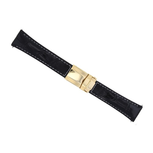 LEATHER STRAP FOR ROLEX DAYTONA 16518 16519 16520 BLACK WS SHORT GOLD CLASP
