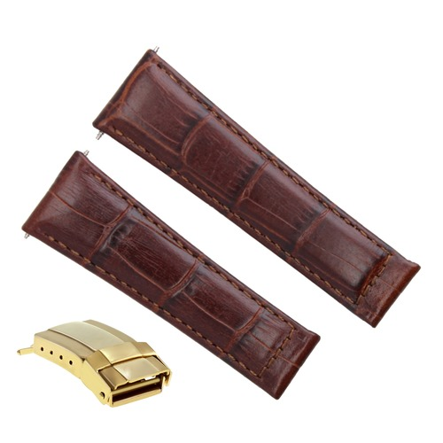 LEATHER STRAP FOR ROLEX DAYTONA 16520 16523 116519 L/BROWN #4DG SHORT GOLD CLASP
