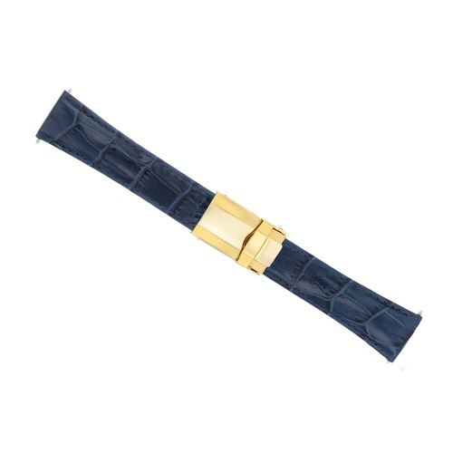 LEATHER STRAP FOR ROLEX DAYTONA 16520 116518 116519 116520 SHORT GOLD CLASP BLUE