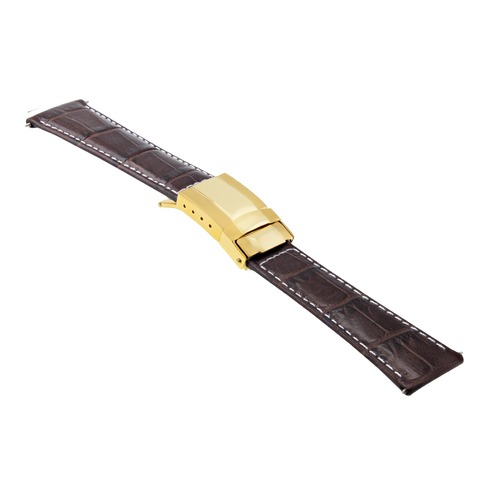 LEATHER WATCH STRAP FOR ROLEX DAYTONA 16518 16519 D/BROWN WS SHORT GOLD CLASP