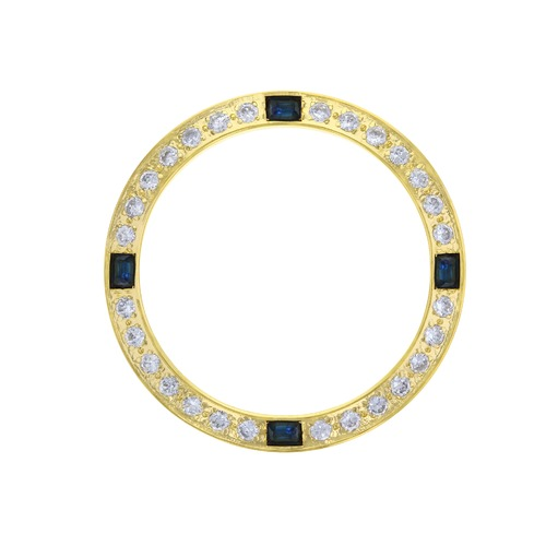 CREATED DIAMOND SAPAHIRE BEZEL FOR 26MM ROLEX DATEJUST 6917 6919 69173 GOLD