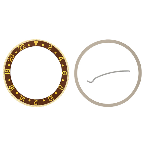 BEZEL & INSERT FOR  ROLEX GMT 18KY REAL GOLD 16700 16710 16713 16718 16760 BROWN