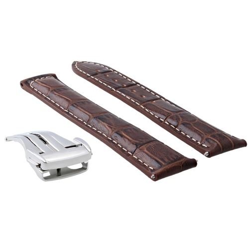 22MM LEATHER STRAP BAND DEPLOY CLASP BUCKLE FOR ORIS ARTIX CHRONO WATCH BROWN WS