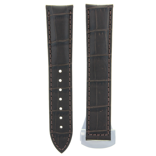 22MM LEATHER WATCH STRAP BAND FOR ORIS ARTIX CHRONO WATCH DEPLOY CLASP D/BROWN