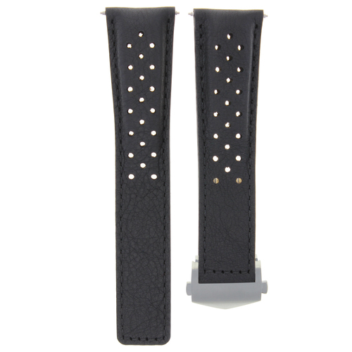 LEATHER BAND WATCH STRAP 22MM FOR ORIS ARTIX SPORT CHRONOGRAPH WATCH CLASP BLACK