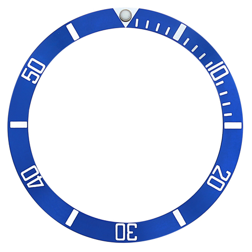BEZEL INSERT FOR OMEGA SEAMASTER WATCH 36MM X 31MM BLUE SILVER FONTS