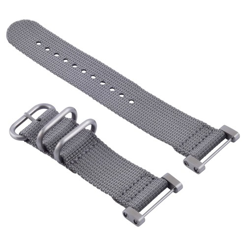 NEW SUUNTO CORE NYLON DIVER WATCH BAND LUGS ADAPTER SET GREY 3 STEEL RINGS