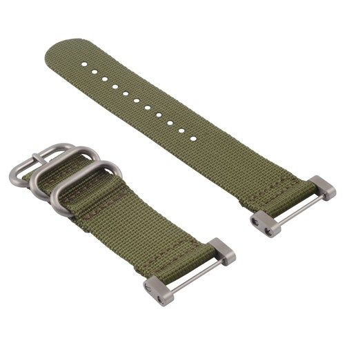SUUNTO CORE NYLON DIVER WATCH BAND LUGS ADAPTER SET MILITARY GREEN 3 STEEL RINGS