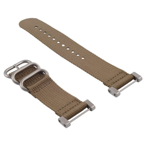 NEW SUUNTO CORE NYLON DIVER WATCH BAND LUGS ADAPTER SET SAND 3 STEEL RINGS