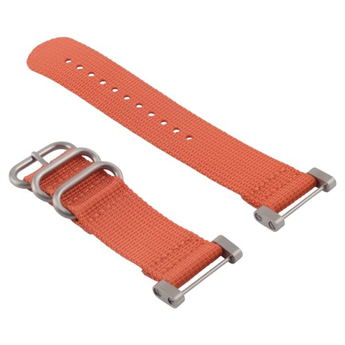 NEW SUUNTO CORE NYLON DIVER WATCH BAND LUGS ADAPTER SET ORANGE 3 STEEL RINGS