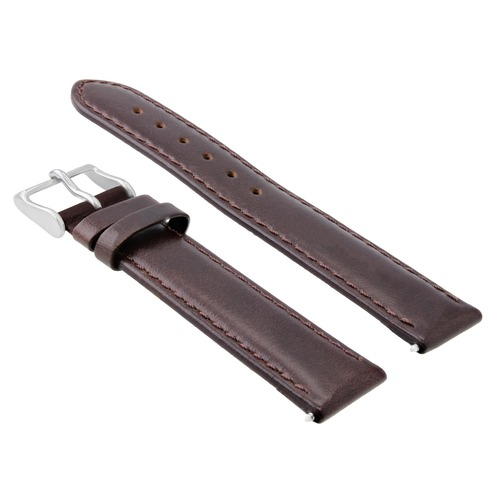 19MM LEATHER WATCH STRAP SMOOTH BAND FOR 34MM ROLEX  DATE AIR KING DARK BROWN