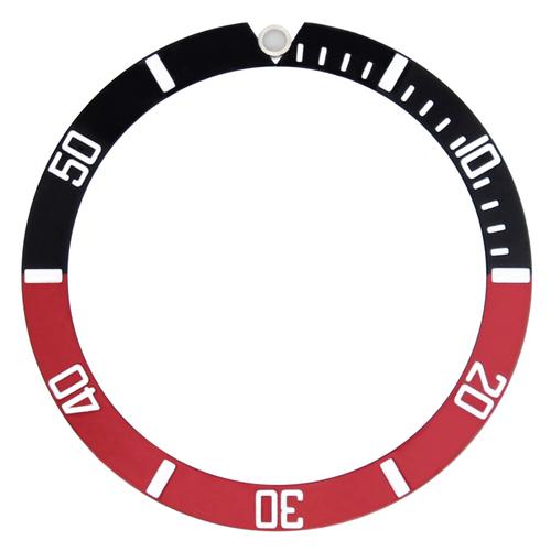 BEZEL INSERT FOR SEIKO SKX031 SKX033 J+K 7S26-0040 SUBMARINER 100M RED/BLACK #1
