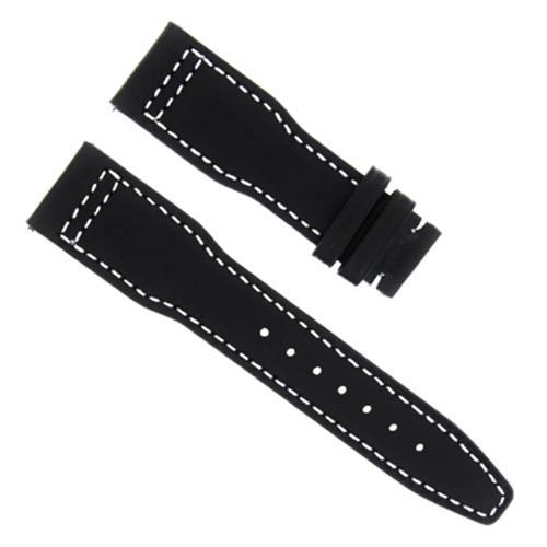 20MM CALF LEATHER STRAP WATCH BAND DEPLOYMENT CLASP FOR IWC PILOT WATCH BLACK  WS